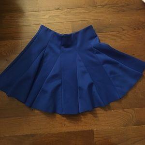 Pleaded royal blue skirt